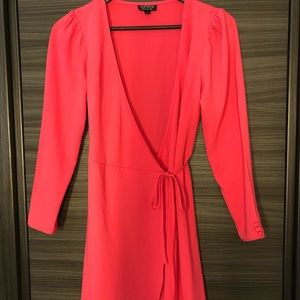 Topshop Hot Pink Wrap Tie summer Dress puff sleeve